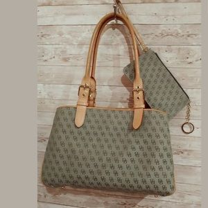 Dooney & Bourke Green Signature Satchel + Wristlet